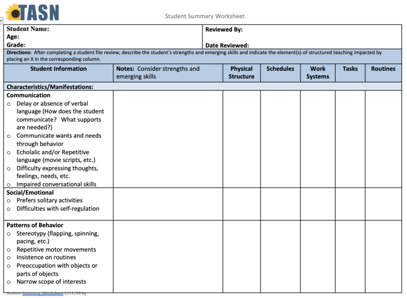 Image of the first page of the Student Summary Worksheet
