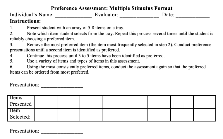 Multiple Stimulus Preference Assessment