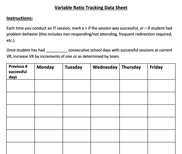 pic of Variable Ratio Tracking Data Sheet